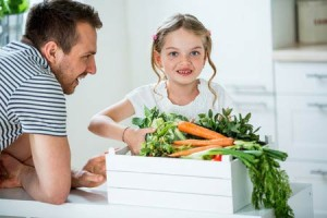 Girl and Father choosing Healthy Nutritious Food